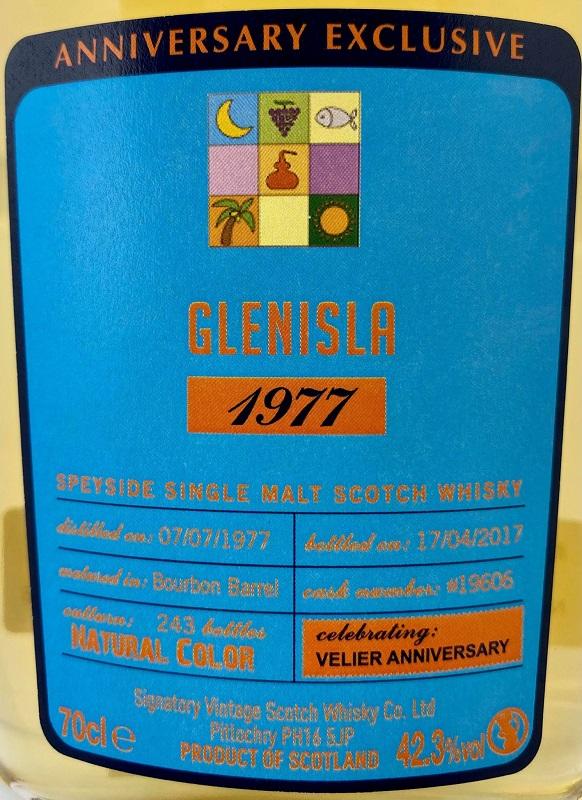 【埠】グレンアイラ [1977] 39年 バーボンバレル for VELIER 【シグナトリー】