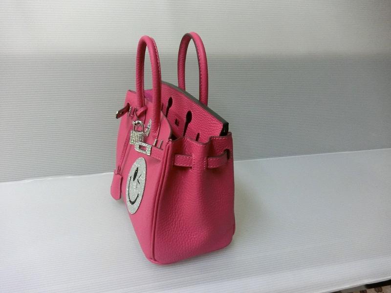 SKIPファッション倶楽部 「上質レザー スワロフスキー・スマイルバッグ バーキンタイプA/ピンク25�」