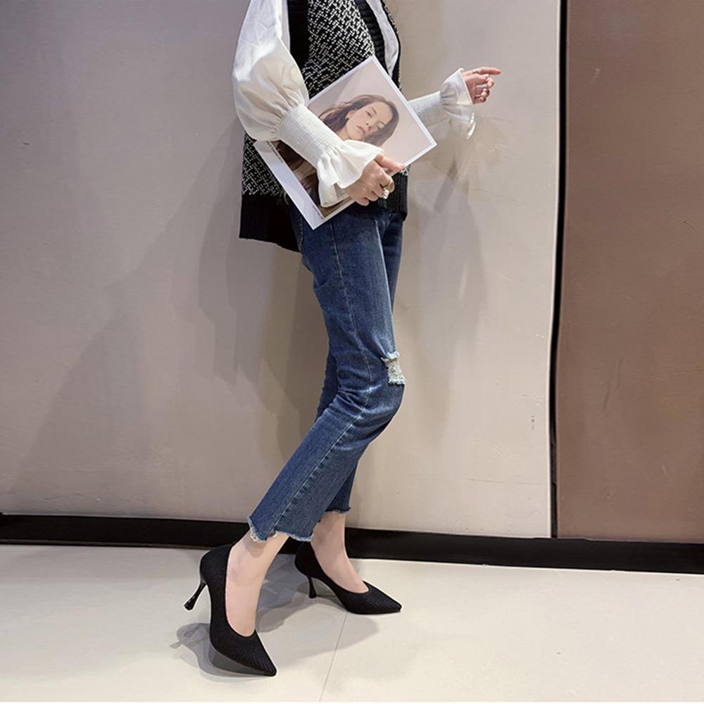 ハイヒール パンプス レディース 靴 ポインテッドトゥ フォーマルシューズ ピンヒール ニット パンプス 履きやすい 卒業式 入園式