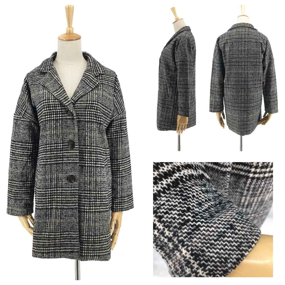 グレンチェック チェスターコート レディース 冬 千鳥柄コート 中綿コート