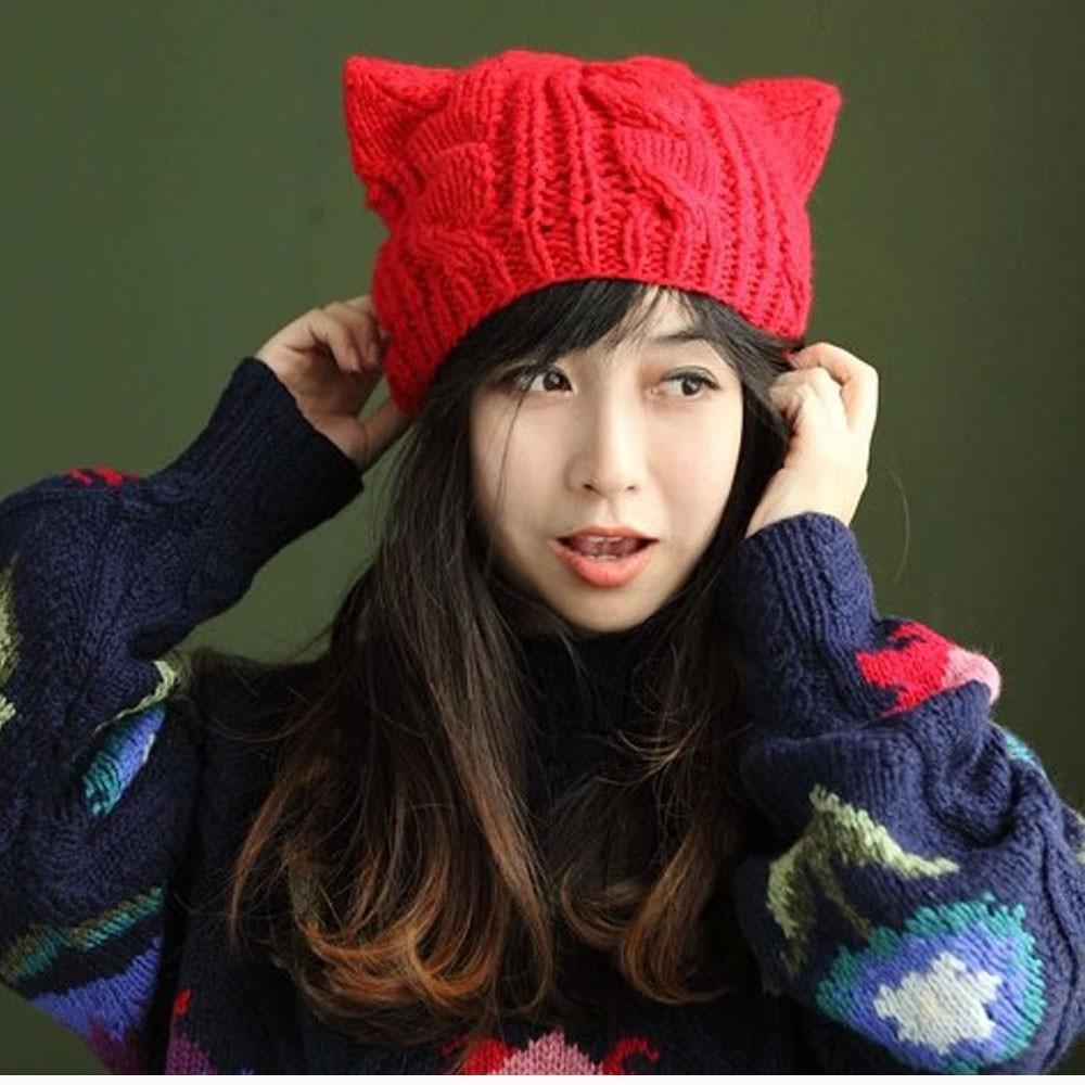 レディース ニット帽 猫耳帽子 ねこみみ 秋新作 毛糸【ネコポス可】