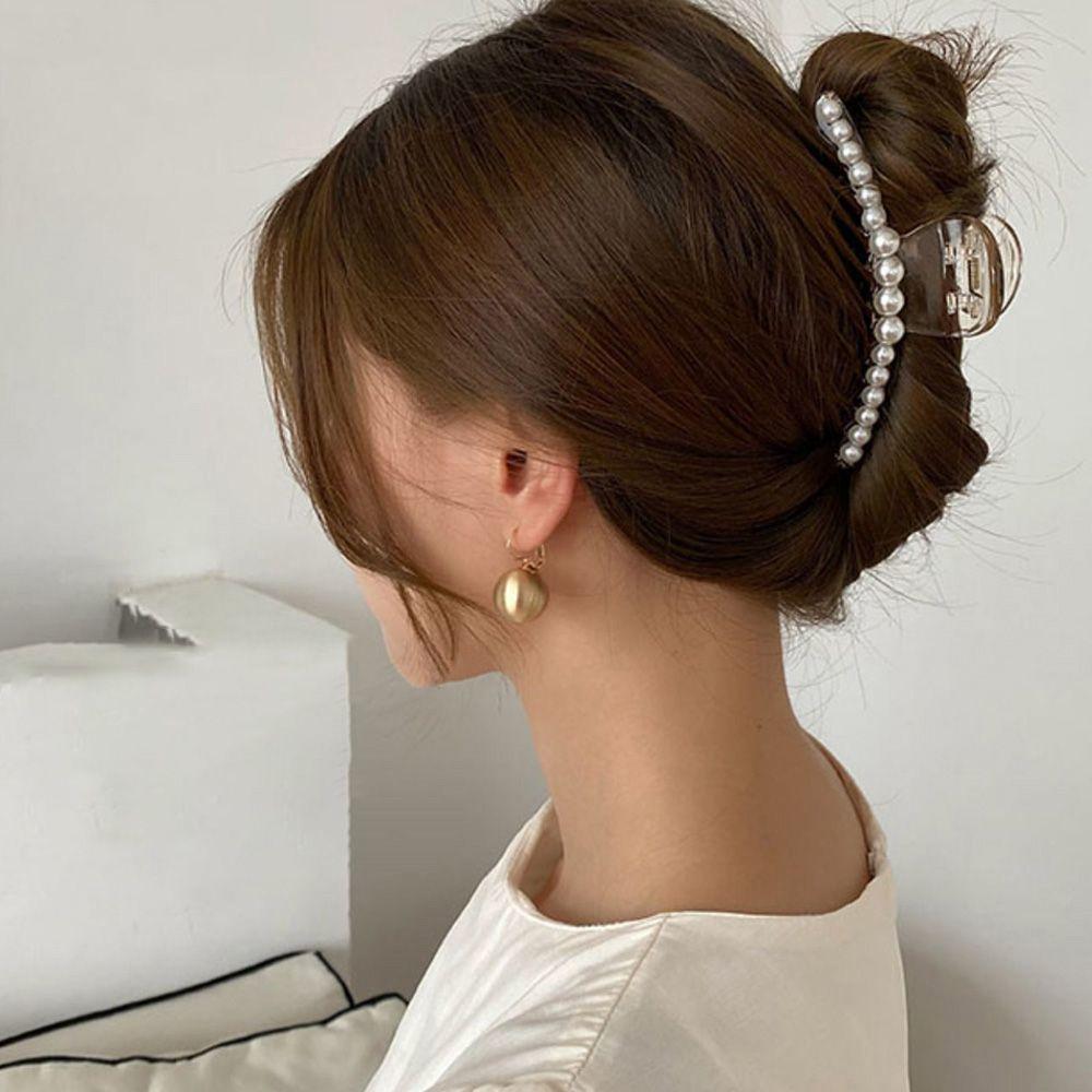 バンスクリップ 可愛い ヘアクリップ ヘアアクセサリー おしゃれ 髪飾り フェイクパール ワニクリップ 大きめ