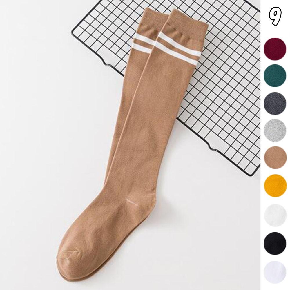 ハイソックス レディース 2本ライン 靴下 綿 ボーダー ロングソックス 通学 靴下 無地【ネコポス可】