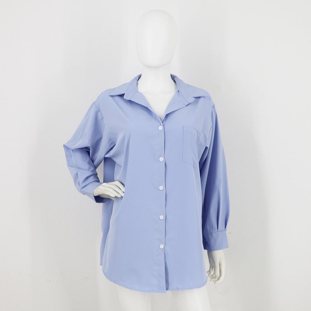 ブラウス トップス 長袖 レディース ロングシャツ カーディガン 胸ポケット付き オーバー ボタン ゆったり【ネコポス可】