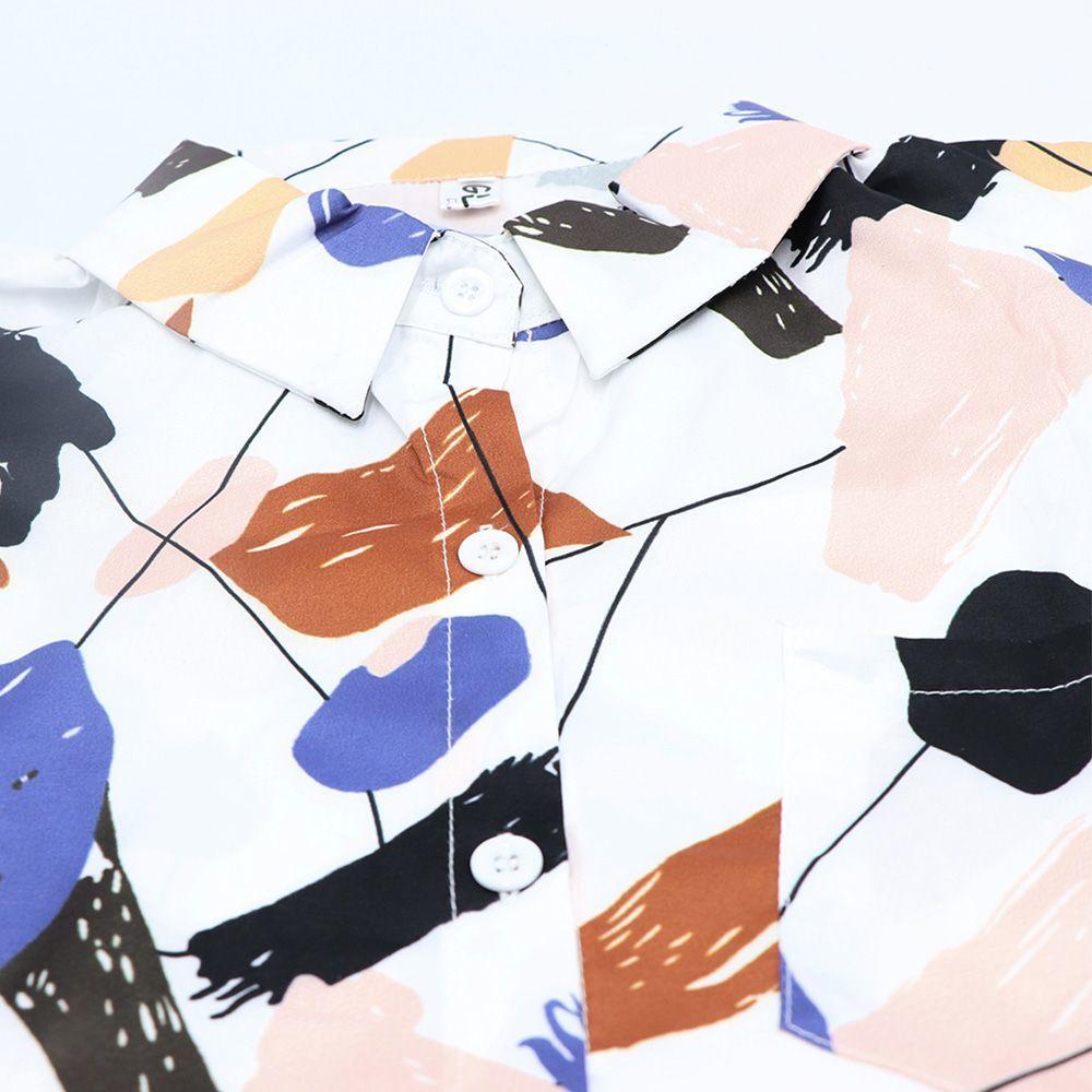 ペイント柄 シャツ レディース プリント 長袖 開襟シャツ 可愛い 襟付き ブラウス 夏春秋 トップス 着やせ 落書き【ネコポス可】