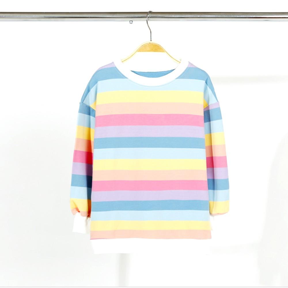 新作 子供服 キッズ 女の子 長袖Tシャツ レインボーストライプ トップス ゆったり シンプル カジュアル 人気 可愛い【ネコポス可】