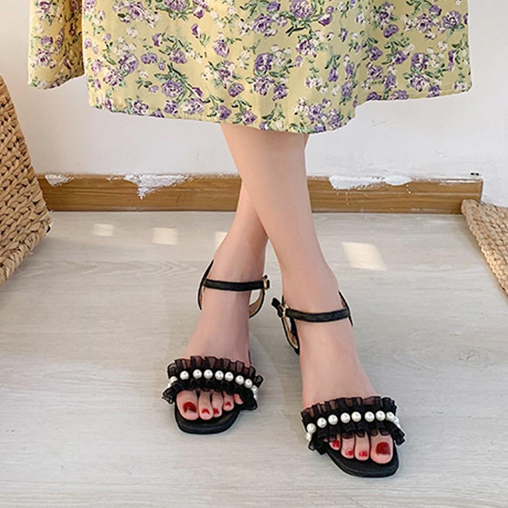 サンダル レディース 靴 太ヒール ハイヒール ストラップ 春夏 歩きやすい 韓国風 レース