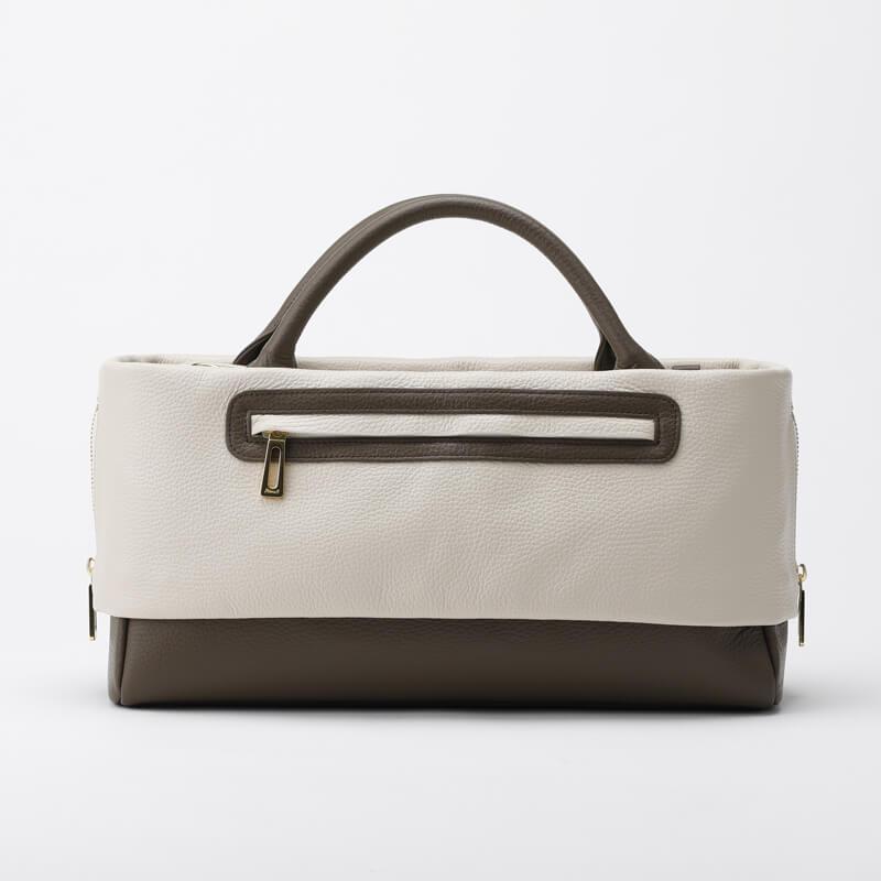 日本製 レディース 大人のレザーバッグ ハンドバッグ・ショルダーバッグにもなる2WAYバッグ  お弁当も入る通勤に最適「バイカラー Mastic×Bistre」