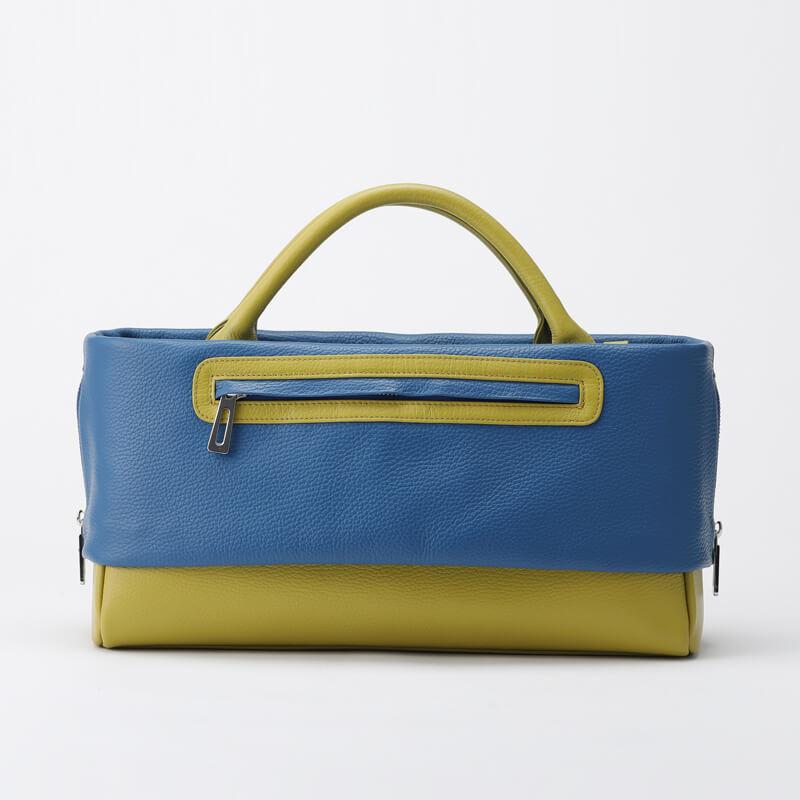 日本製 レディース 大人のレザーバッグ ハンドバッグ・ショルダーバッグにもなる2WAYバッグ  お弁当も入る通勤に最適  「バイカラー Indigo×Rapeseed」