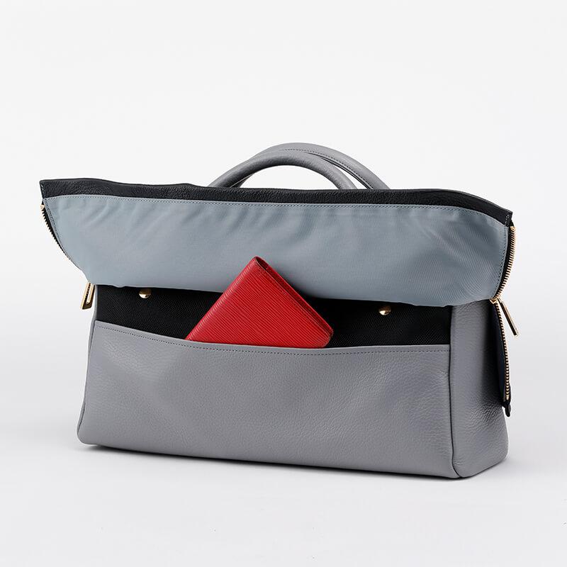 日本製 レディース 大人のレザーバッグ ハンドバッグ・ショルダーバッグにもなる2WAYバッグ  お弁当も入る通勤に最適 「バイカラー Bistre×Mastic」