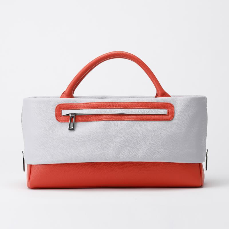 日本製 レディース 大人のレザーバッグ ハンドバッグ・ショルダーバッグにもなる2WAYバッグ  お弁当も入る通勤に最適  「バイカラー Sky Gray×Scarlet」