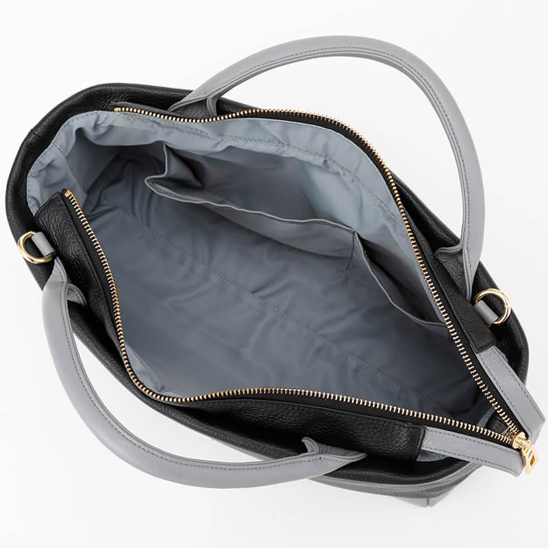 日本製 レディース 大人のレザーバッグ ハンドバッグ・ショルダーバッグにも  なる2WAYバッグ  お弁当も入る通勤に最適「バイカラー Black×Gray」