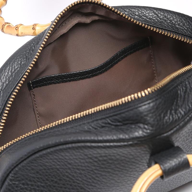 レディース 軽量 大人のポシェット・2WAYミニバッグ 丸い持ち手のバンブーが可愛い 人気のイタリアンレザーバッグ 日本製