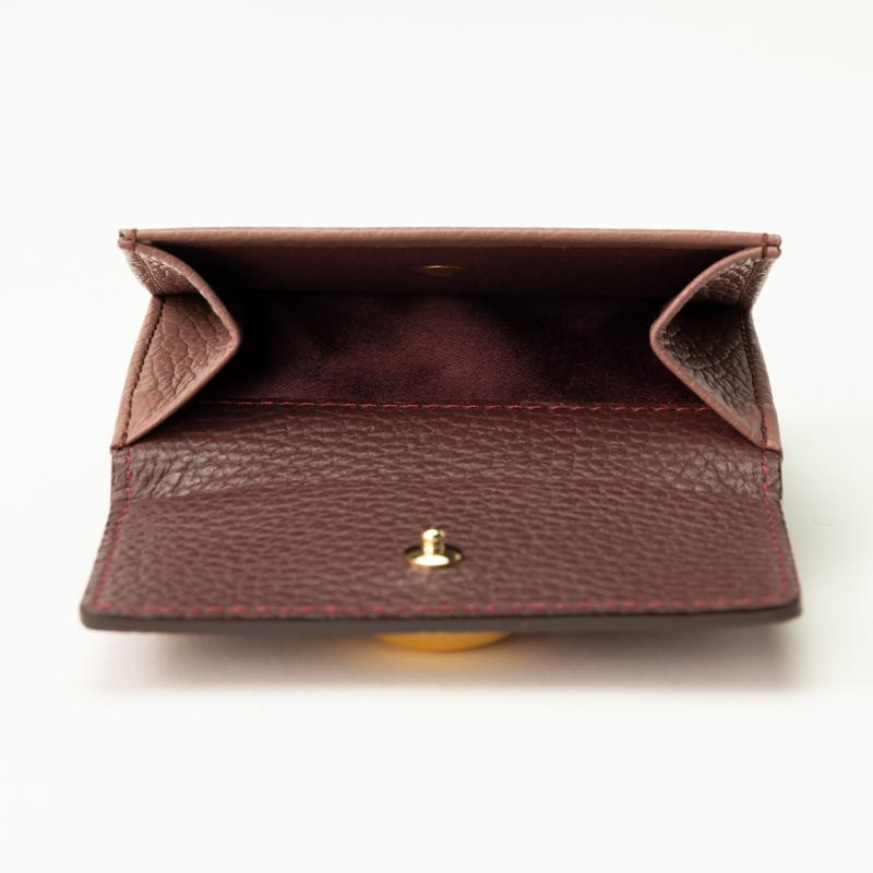 レディース コンパクト三つ折財布 日本製  バルサミックパープル×ワインカラー/ブルー×イエロー