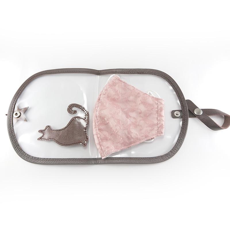 丸めてコンパクト 携帯用マスクケース  【犬】