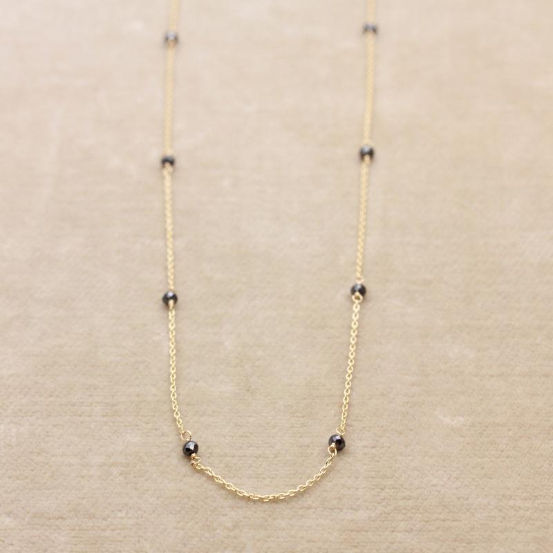 ぺパンネックレス N-01ブラックダイヤ 80cm