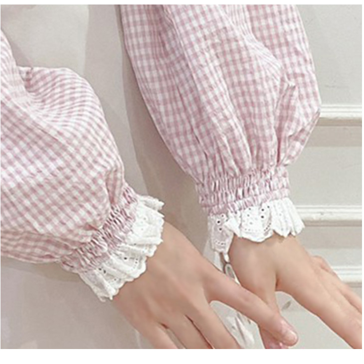 TS gingham ribbon TOPS