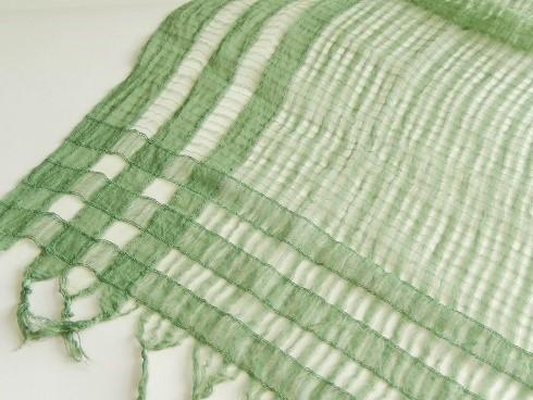 レーヨンポリ混紡格子柄スカーフ 100×100cm+房 1枚