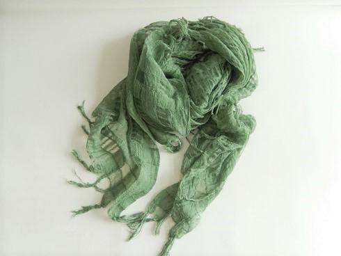 レーヨンポリ混紡格子柄スカーフ 100×100cm+房 10枚
