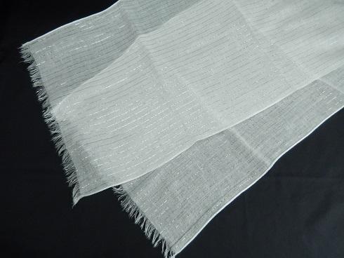 綿100% 銀ラメ ストライプ柄ストール 35×150cm+房 1枚