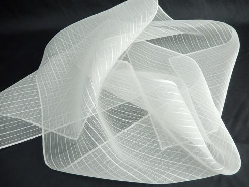 絹100%オーガンジーストライプ柄プチストール 25×130cm 1枚