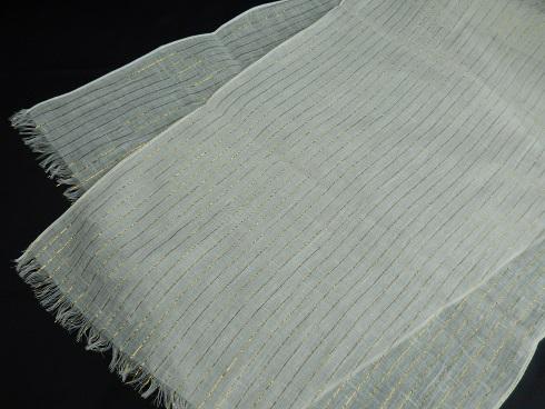 綿100% 金ラメ ストライプ柄ストール 35×150cm+房 1枚