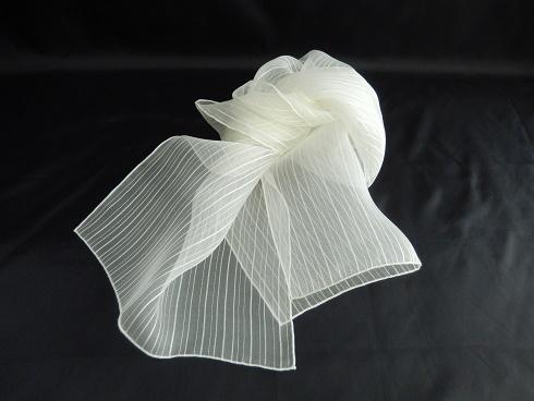 絹100%ストライプ柄シルクオーガンジーストール 40×160cm 1枚