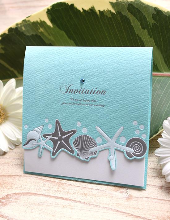 結婚式招待状(印刷/手作り)【ブルーシェル】 沖縄南国デザイン オリジナル
