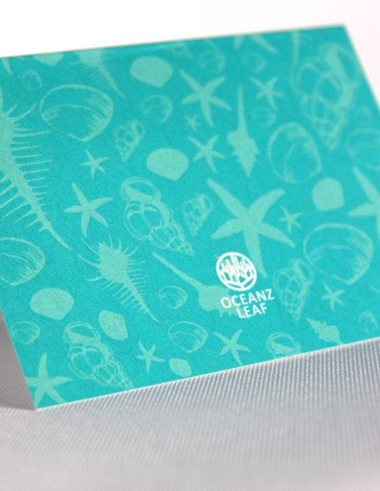 【シェルフェイド2】エメラルドグリーン 席札 南国リゾートデザイン  Oceanz leaf