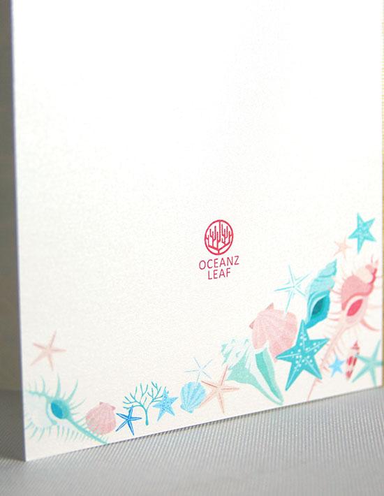【アイダ (ロング型)シェル】 招待状 南国リゾートデザイン  Oceanz leaf2