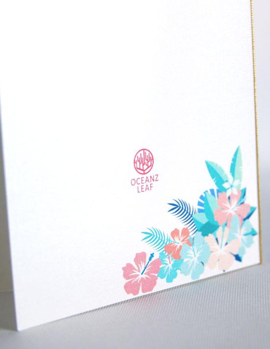 【アイダ (ロング型)フラワー】 招待状 南国リゾートデザイン  Oceanz leaf2