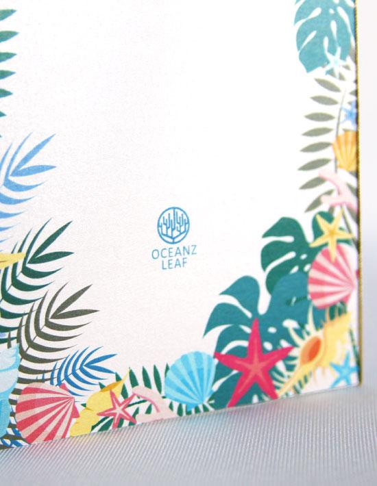 【アマンダ (ロング型)ホワイト】 招待状 南国リゾートデザイン  Oceanz leaf2
