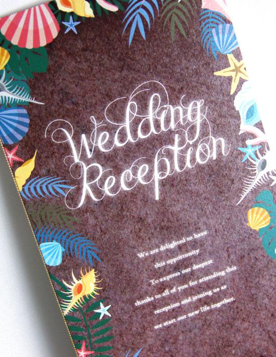 【アマンダ】ブラウン 結婚式 席次表 南国リゾートデザイン  Oceanz leaf2