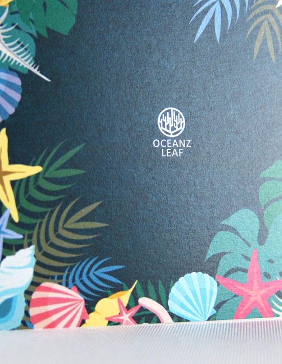 【アマンダ(スクエア型)ダークグリーン】 招待状 南国リゾートデザイン  Oceanz leaf Vol2
