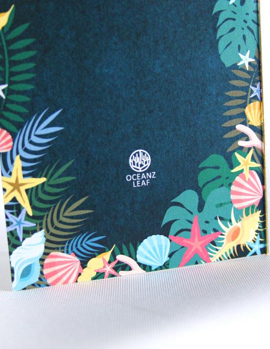【アマンダ (ロング型)ダークグリーン】 招待状 南国リゾートデザイン  Oceanz leaf2