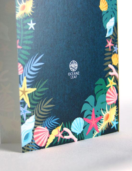【アマンダ】ダークグリーン 結婚式 席次表 南国リゾートデザイン  Oceanz leaf2