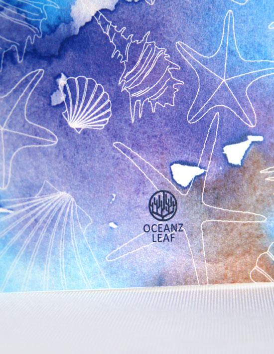 【ヴィルジニア(スクエア型)ブルー】 招待状 南国リゾートデザイン  Oceanz leaf Vol2