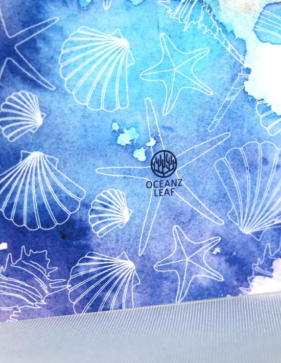 【ヴィルジニア(ロング型)ブルー】 招待状 南国リゾートデザイン  Oceanz leaf2