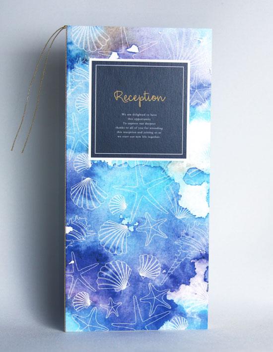 【ヴィルジニア】ブルー 結婚式 席次表 南国リゾートデザイン  Oceanz leaf2