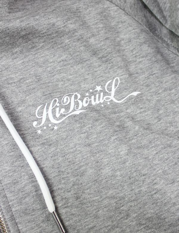 HiBowL Logo Line Parka グレー×ホワイト [Hi-lsp-1]