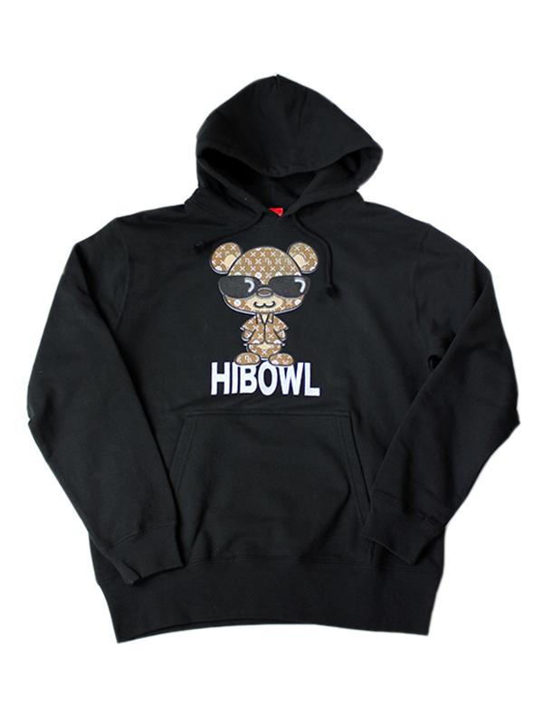 "HiBowL Hoodie ""HiBear"" ブラック×ベージュ  [Hi-phd-4]"