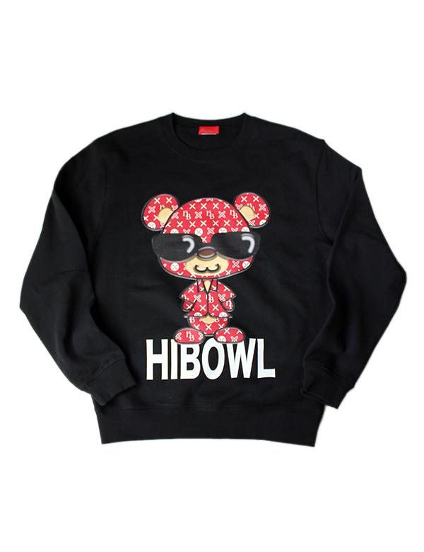"""HiBowL スウェット""""HiBear"""" ブラック×レッド [Hi-sweat-3]"""