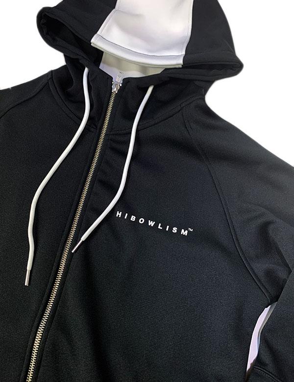 HiBowL Frame Logo Jersey Hoodie ブラック×ホワイト [Hi-flh-1]
