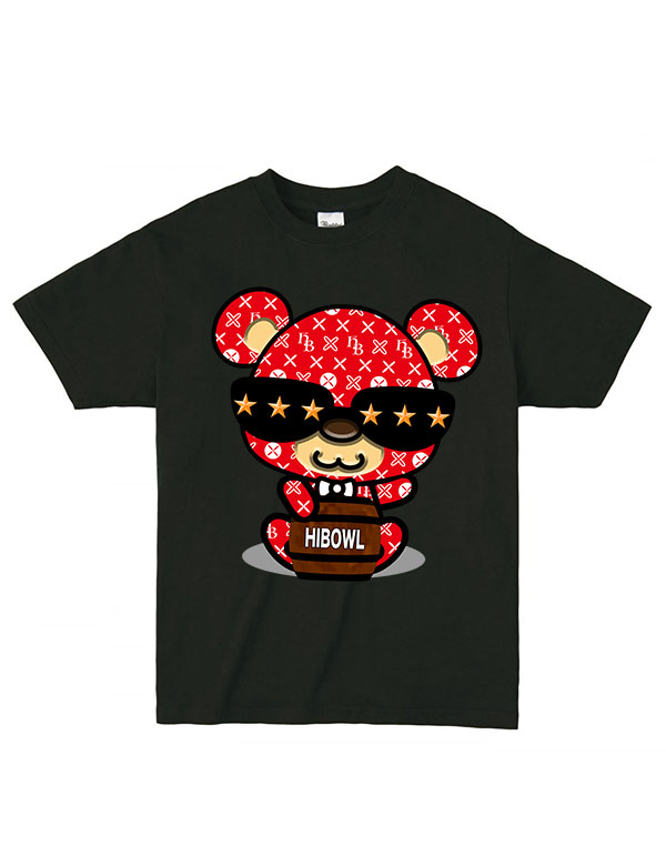 """★コロナに負けるな!!特別価格★HiBowL Tee""""HiBear Type2"""" ブラック×レッド [Hi-tee-28-Tシャツ]"""
