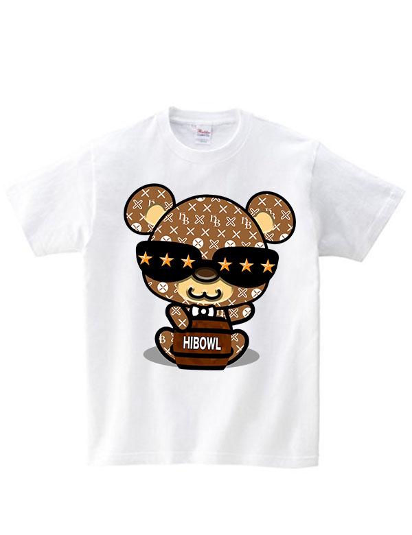 """★コロナに負けるな!!特別価格★HiBowL Tee""""HiBear Type2"""" ホワイト×ベージュ [Hi-tee-28-Tシャツ]"""