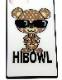 "HiBowL スクエア型iPhoneケース ""HiBear"" ホワイト×ベージュ  [Hi-ip-007]"