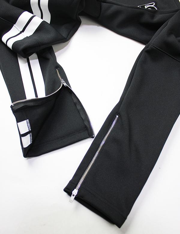 HiBowL 2Line Skinny Jersey Pants ブラック×ホワイト [Hi-lsp-1]