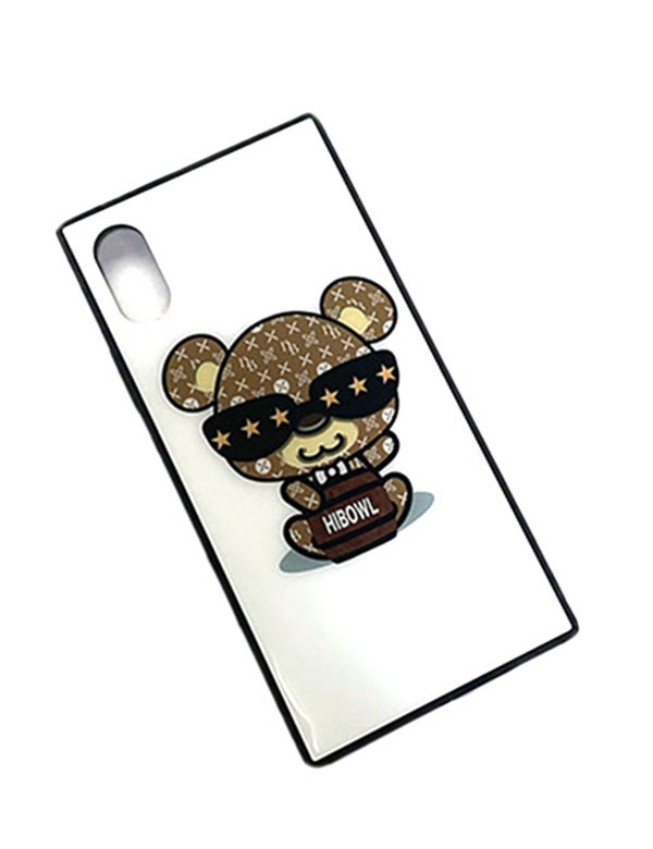 "HiBowL スクエア型iPhoneケース ""HiBear Type2"" ホワイト×ベージュ  [Hi-ip-008]"