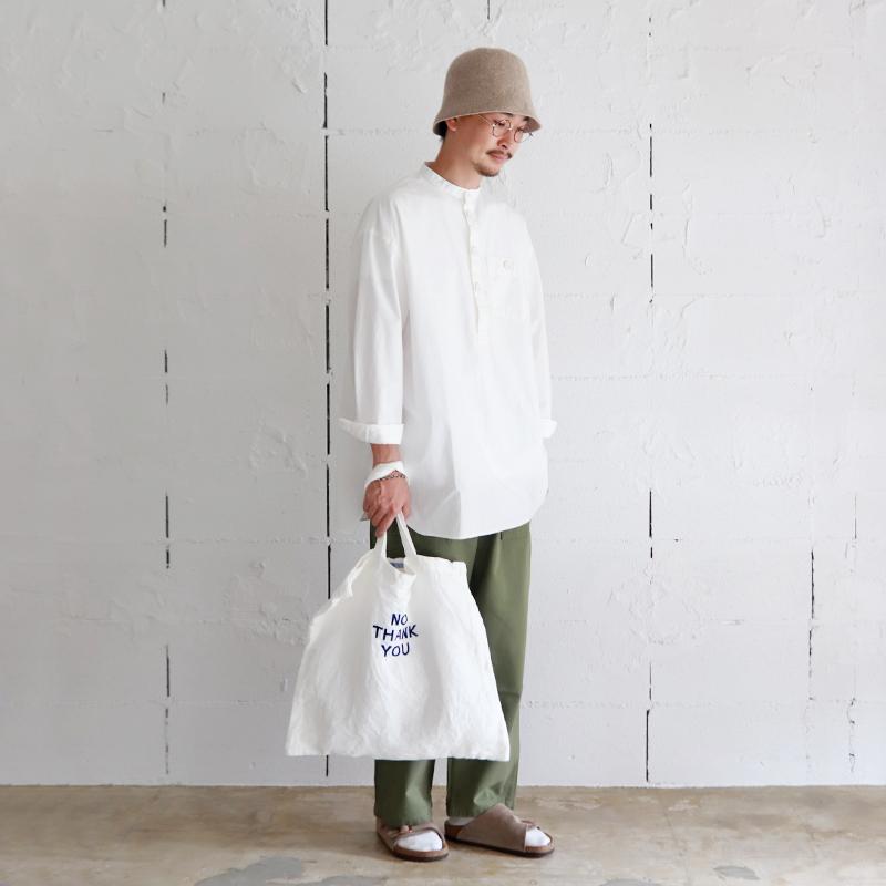 LOLO スタンドカラープルオーバー ビックシャツ ホワイト
