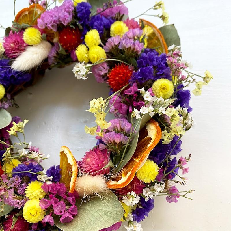 『摘みたてお花』で作ったドライリース(S)